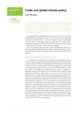Trade and global climate-policy John Whalley