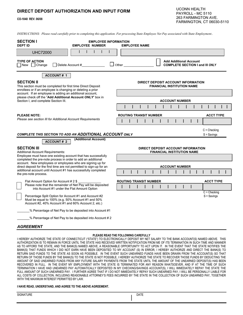 DIRECT DEPOSIT AUTHORIZATION AND INPUT FORM