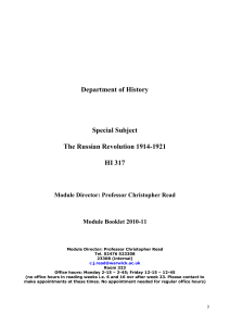 Department of History Special Subject The Russian Revolution 1914-1921