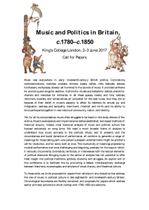 Music and Politics in Br itain, c Call for Papers