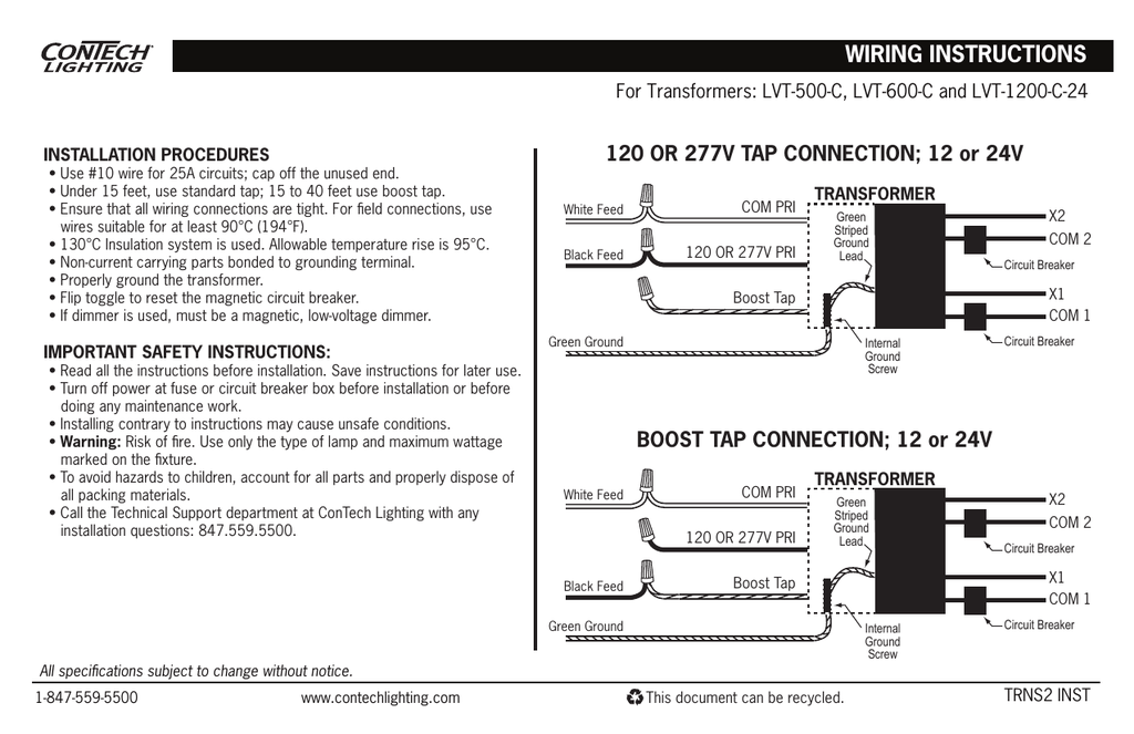 WIRING INSTRUCTIONS 120 OR 277V TAP CONNECTION; 12 or 24V ... on