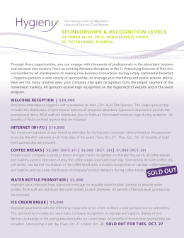 SPONSORSHIPS & RECOGNITION LEVELS