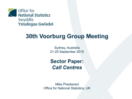 30th Voorburg Group Meeting  Sector Paper: Call Centres