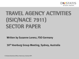 TRAVEL AGENCY ACTIVITIES (ISIC/NACE 7911) SECTOR PAPER