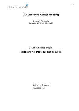 Cross Cutting Topic: Industry vs. Product Based SPPI 30 Voorburg Group Meeting