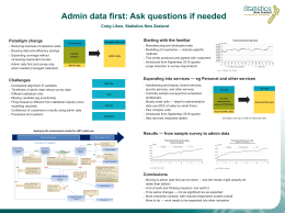 Admin data first: Ask questions if needed Starting with the familiar