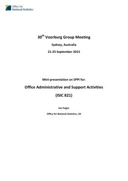 30  Voorburg Group Meeting  Office Administrative and Support Activities   (ISIC 821)