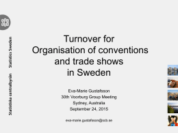 Turnover for Organisation of conventions and trade shows in Sweden
