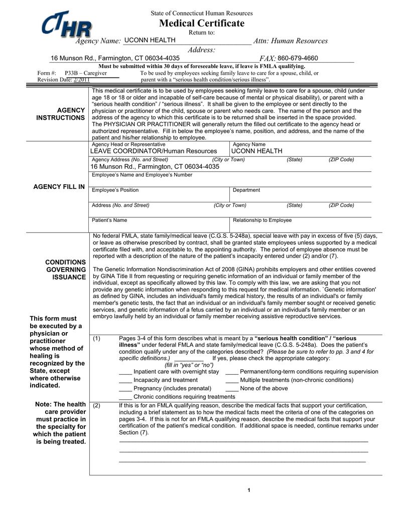 Medical certificate falaconquin