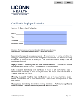 Confidential Employee Evaluation  Section II - Supervisor Evaluation Save