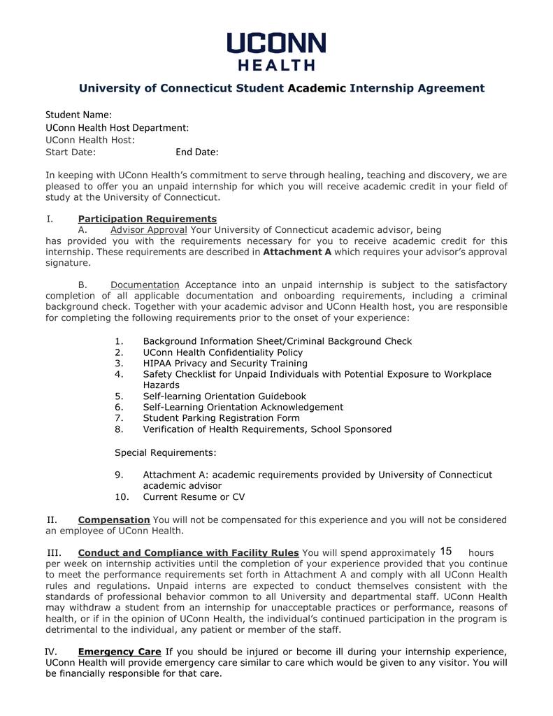 university of connecticut student internship agreement academic