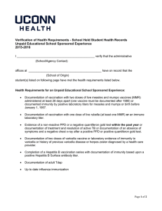 Verification of Health Requirements - School Held Student Health Records