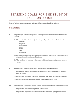 LEARNING GOALS FOR T HE STUDY OF RELIGION MAJOR OUTCOMES: