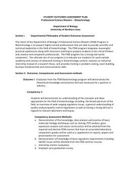 STUDENT OUTCOMES ASSESSMENT PLAN Professional Science Masters – Biotechnology  Department of Biology