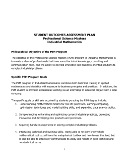 STUDENT OUTCOMES ASSESSMENT PLAN  Professional Science Masters Industrial Mathematics