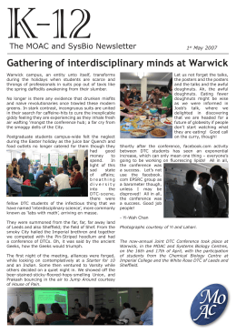 K-12 Gathering of interdisciplinary minds at Warwick The MOAC and SysBio Newsletter 1