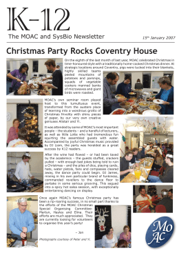 K-12 Christmas Party Rocks Coventry House The MOAC and SysBio Newsletter 15