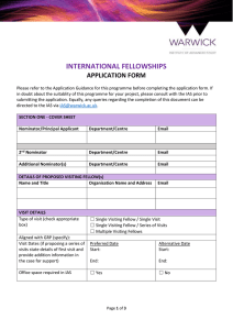 INTERNATIONAL FELLOWSHIPS APPLICATION FORM