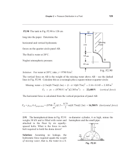 P2.90 long into the paper.  Determine the horizontal and vertical hydrostatic