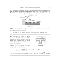3.19 water at a uniform vertical velocity of 8 mm/s, as... deep into the paper. Find the length L