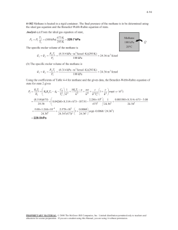 4-54 the ideal gas equation and the Benedict-Webb-Rubin equation of state. Methane