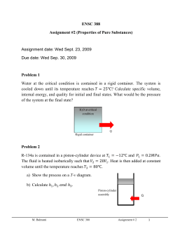 ENSC 388 Assignment #2 (Properties of Pure Substances) Problem 1