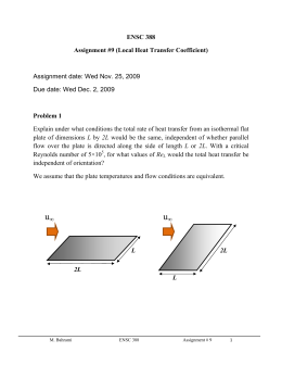 ENSC 388 Assignment #9 (Local Heat Transfer Coefficient) Problem 1