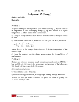 ENSC 461 Assignment #5 (Exergy)