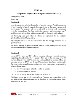 ENSC 461 Assignment #7 (Non-Reacting Mixtures and HVAC)