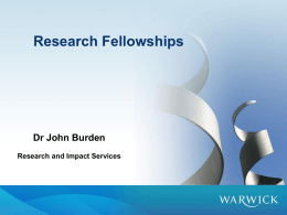 Research Fellowships Dr John Burden Research and Impact Services