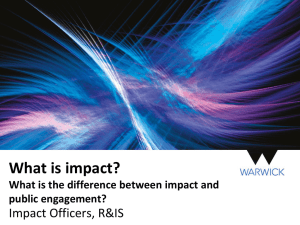 What is impact? Impact Officers, R&IS public engagement?