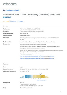 Anti-HLA Class II DRB1 antibody [EPR6148] ab133578 Product datasheet 1 Abreviews 5 Images