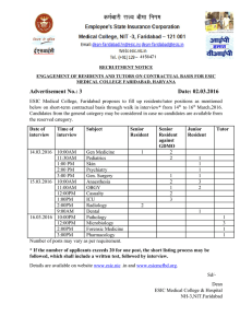 RECRUITMENT NOTICE MEDICAL COLLEGE FARIDABAD, HARYANA