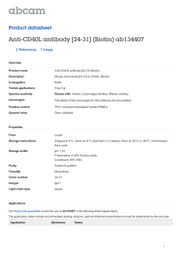 Anti-CD40L antibody [24-31] (Biotin) ab134407 Product datasheet 2 References 1 Image