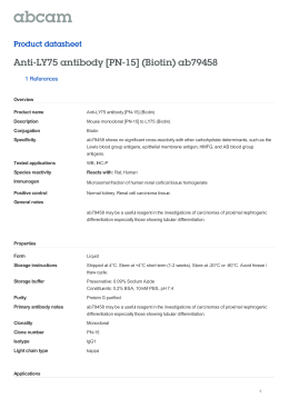 Anti-LY75 antibody [PN-15] (Biotin) ab79458 Product datasheet 1 References Overview