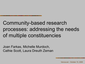 Community-based research processes: addressing the needs of multiple constituencies Joan Farkas, Michelle Murdoch,