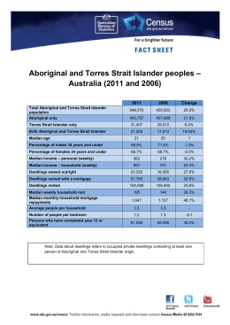 – Aboriginal and Torres Strait Islander peoples Australia (2011 and 2006)