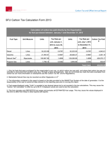 SFU Carbon Tax Calculation Form 2013