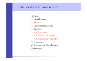 The sections in your report