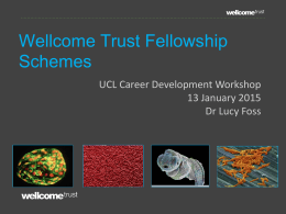 Wellcome Trust Fellowship  Schemes UCL Career Development Workshop