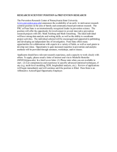 RESEARCH SCIENTIST POSITION in PREVENTION RESEARCH  (