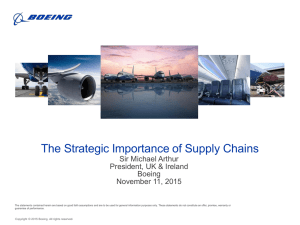 The Strategic Importance of Supply Chains Sir Michael Arthur Boeing
