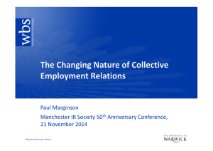 Paul Marginson Manchester IR Society 50 Anniversary Conference, 21 November 2014