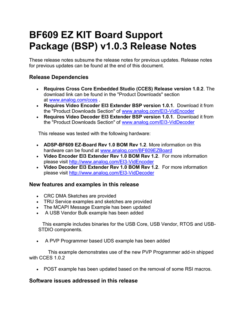 Bf609 Ez Kit Board Support Package Bsp V1 0 3 Release Notes