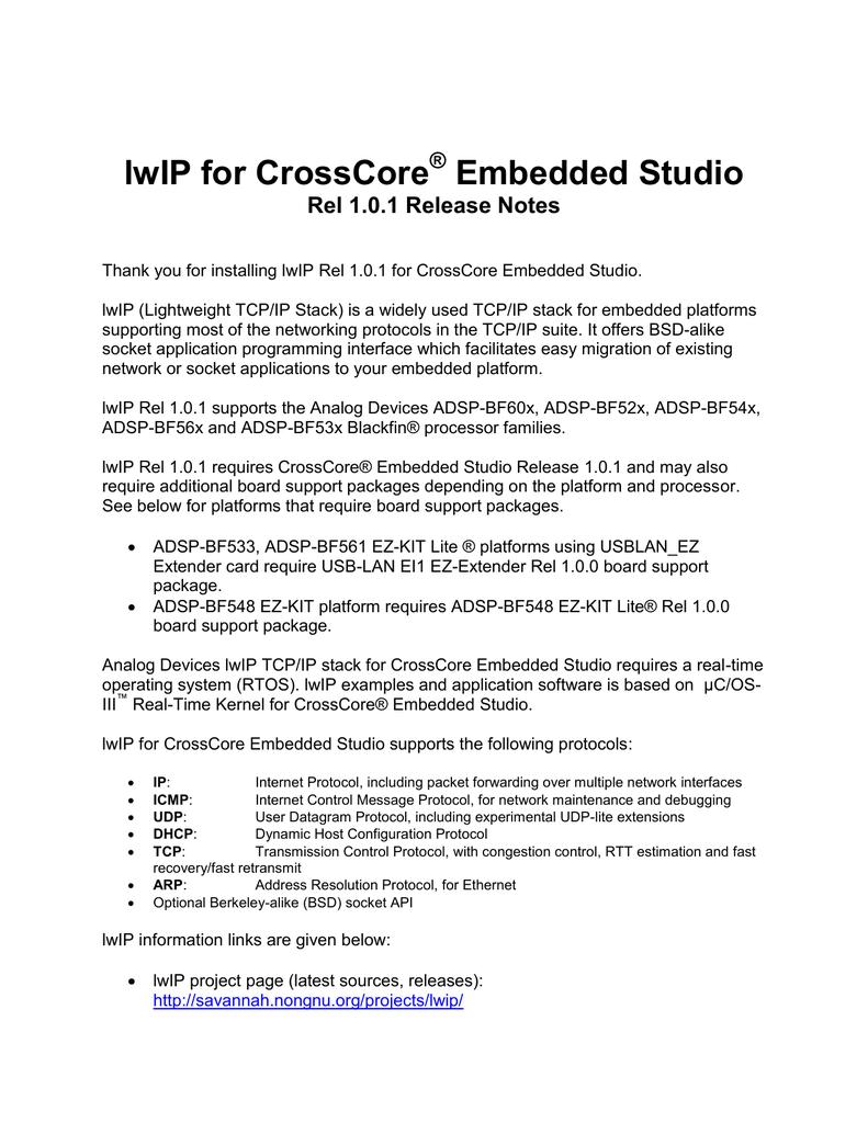 lwIP for CrossCore Embedded Studio ® Rel 1 0 1 Release Notes