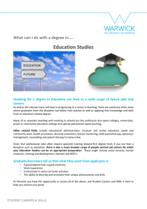 Education Studies What can I do with a degree in….. careers