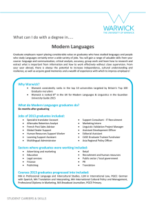 Modern Languages What can I do with a degree in…..