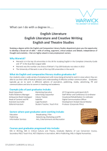 English Literature English Literature and Creative Writing English and Theatre Studies