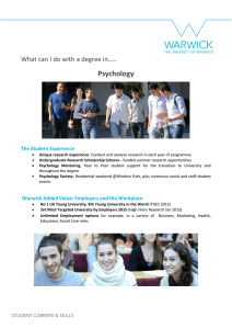 Psychology  What can I do with a degree in….. The Student Experience