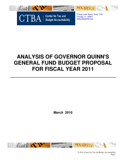 ANALYSIS OF GOVERNOR QUINN'S GENERAL FUND BUDGET PROPOSAL FOR FISCAL YEAR 2011